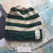 Brooklyn emerald green striped beanie - luxury winter hat with hand dyed merino stripes