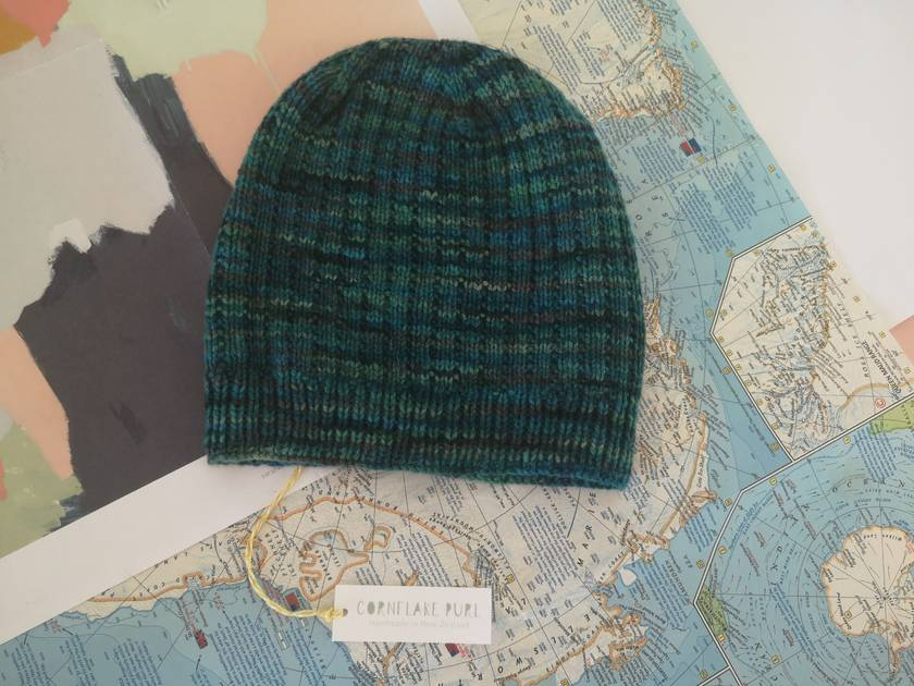 Hudson dark green slouch beanie - luxury merino wool hat
