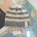 Brooklyn light teal green striped beanie - luxury winter hat with hand dyed merino stripes