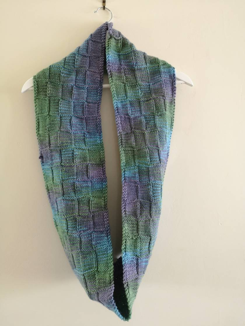 Bushido green blue unisex infinity scarf - knitted from pure NZ wool
