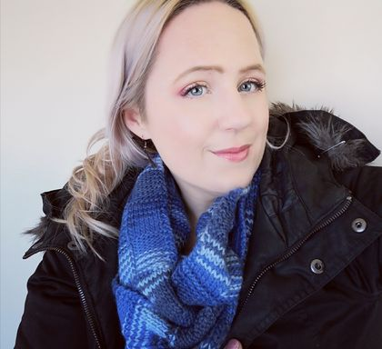 Bushido blue unisex infinity scarf - knitted from pure NZ wool