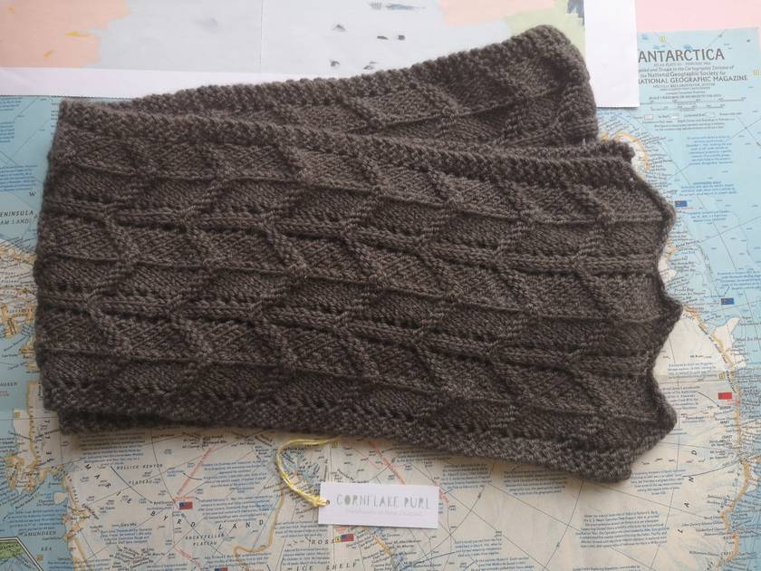 Long unisex scarf – grey brown textured scarf hand knitted from pure New Zealand wool