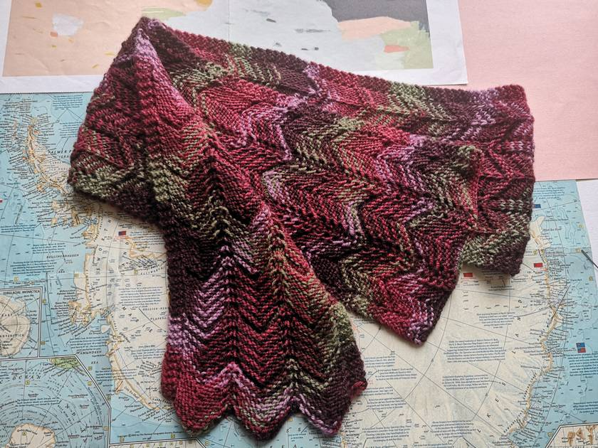 Raspberry Swirl scarf – knitted from 100% pure NZ wool