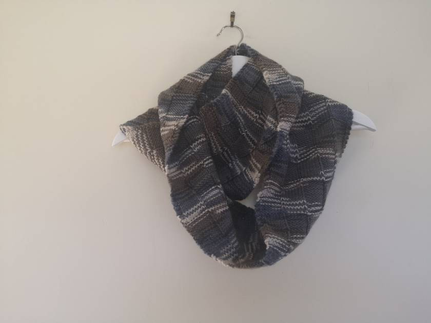 Bushido mixed grey unisex infinity scarf - knitted from pure NZ wool