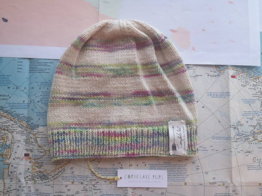 Brooklyn rainbow striped beanie - luxury winter hat with hand dyed merino stripes