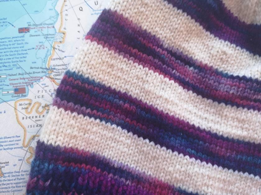 Brooklyn purple striped beanie - luxury winter hat with hand dyed merino stripes