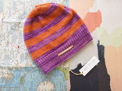 Brooklyn purple orange striped beanie - luxury winter hat with hand dyed merino stripes