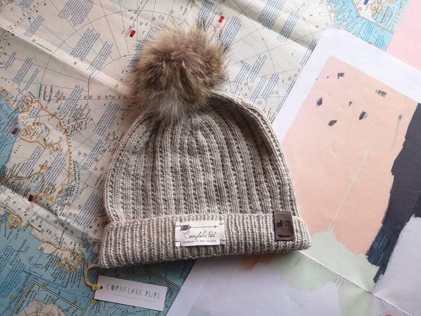Hudson silver fox beanie - luxury merino wool hat with upcycled fox fur pompom