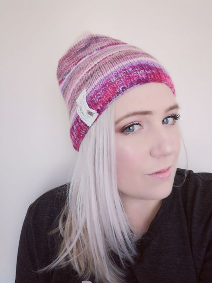 Girl's pink striped beanie - luxury winter hat with hand dyed merino stripes