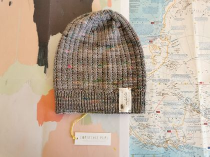 Hudson grey beanie - luxury merino wool hat with flashes of neon pink and green