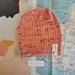 Hudson bright peach and plum beanie - luxury merino wool hat