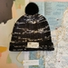 Hudson black and white beanie - luxury wool hat with upcycled fur pompom
