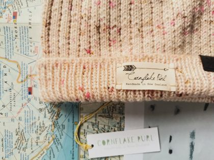 Hudson luxury beanie - speckled light pink wool hat