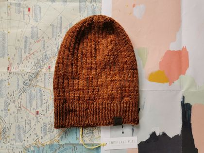 Hudson luxury beanie - hand dyed dark caramel brown wool hat