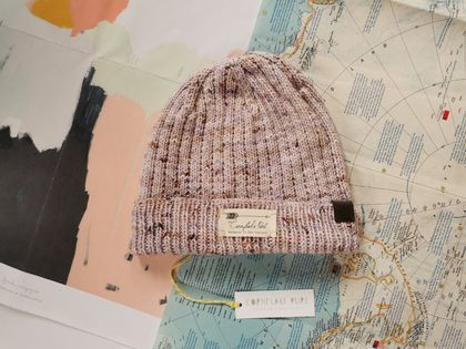 Hudson luxury beanie - speckled amethyst purple wool hat