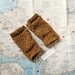 Log Cabin womens fingerless mitts – golden mustard tweed wool