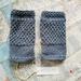 Log Cabin womens fingerless mitts – Steel blue wool