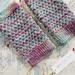 SIREN womens fingerless mitts – purple, blue and green wool