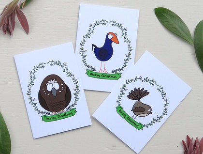 Christmas Cards & Envelopes - 3 Variety Pack - NZ Native Birds