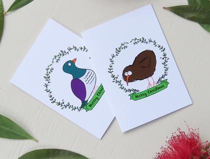 Christmas Cards & Envelopes - 5 Variety Pack - NZ Native Birds
