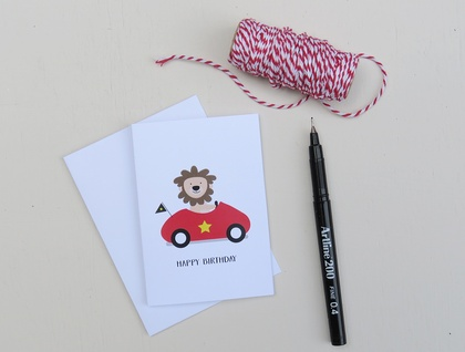 Happy Birthday Lion Greeting Card & Envelope