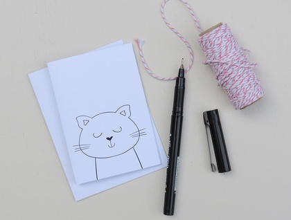 Greeting Card & Envelope - Kitty Cat