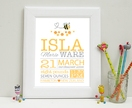 Nursery Wall Art Baby Print - Buzzy Bee