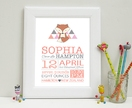 Nursery Wall Art Baby Print - Fox Girl