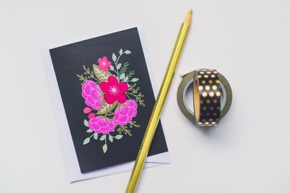 Birthday Greeting Card & Envelope - Floral Bouquet