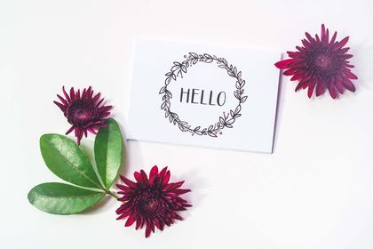 Greeting Card & Envelope - Hello Wreath