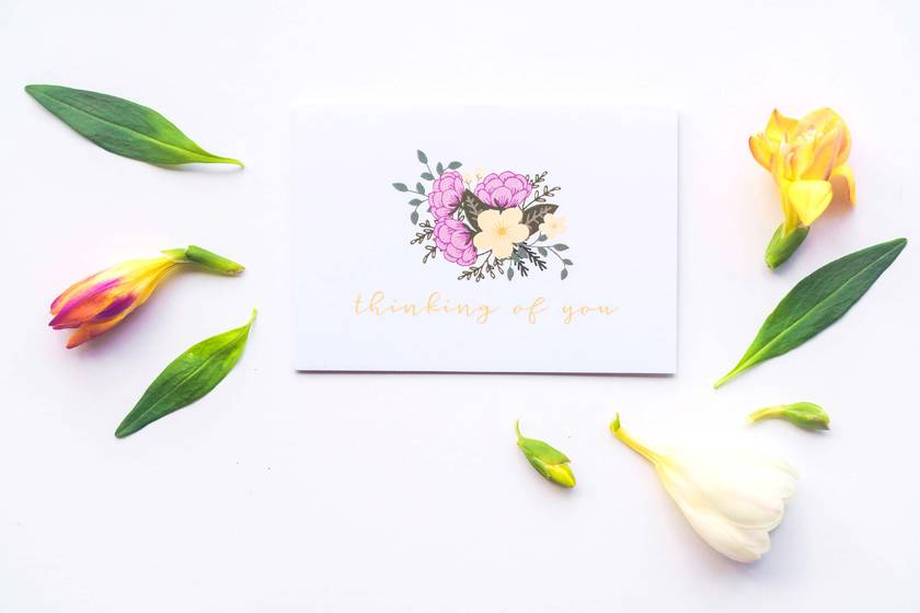 Greeting Card & Envelope - Floral Pastels