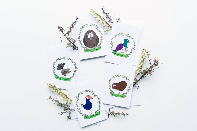 Christmas Cards & Envelopes - 5 Variety Pack - NZ Native Birds
