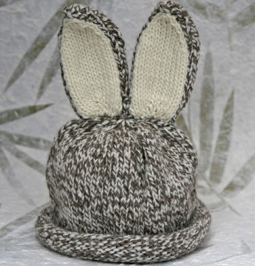 Bunny Ears Knitting Pattern : Bunny ears hat - NZ organic merino wool hand knitted baby hat (3-9m) Felt