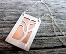 Sterling Silver & Copper hand crafted pendant with Sterling Silver Chain - Mystical Tree