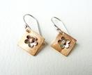 Copper & Sterling Silver Earrings - Funky wee Flowers