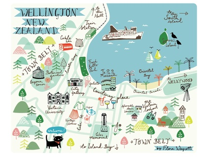Map Wellington New Zealand.Map Of Wellington Print Felt