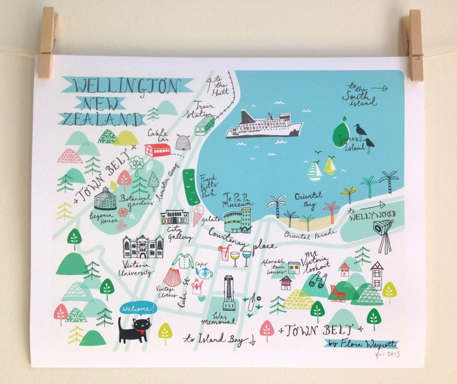 Map Of Wellington New Zealand.Map Of Wellington Print Felt