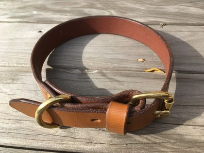 Handcrafted Vegetable Tanned Leather Dog Collar