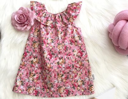 Vintage Rose Ruffle Neck Dress