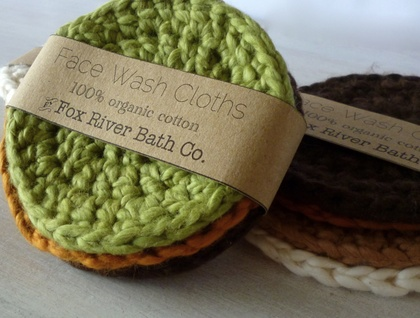 4 Round Organic Cotton Washcloths
