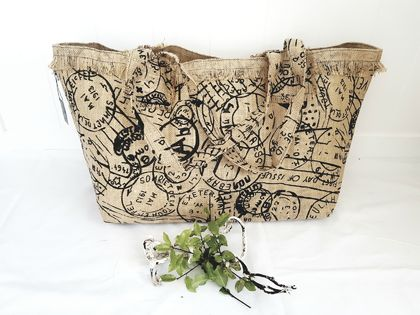 REUSABLE STAMP PRINT SHOPPING BAG