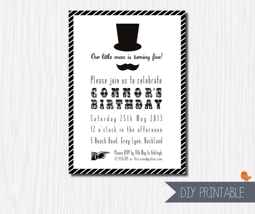 Printable 'Little Man - Top Hat Striped' Custom Invitation