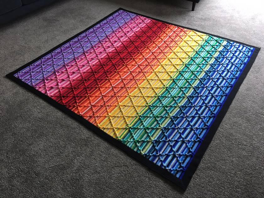 Amazing handmade crochet blanket, rainbow colours, textured Jacob's Ladder design.