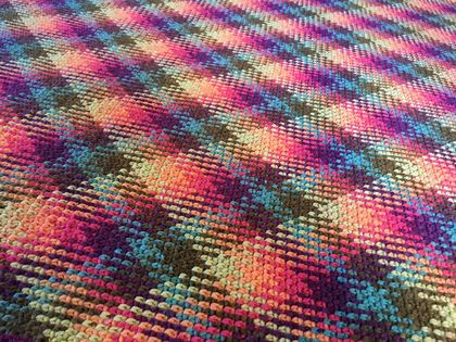 Awesome handmade crochet blanket, woven style, amazing colours!