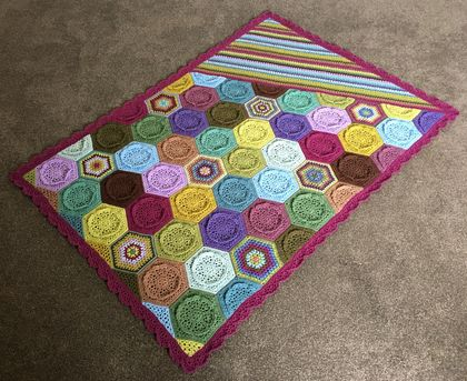 Awesome handmade crochet blanket, amazing colours!  Modern modern design with hexagons and stripes