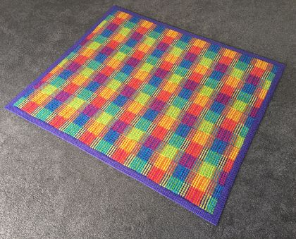 Lovely hand crochet blanket, Squares geometric - amazing rainbow colours!