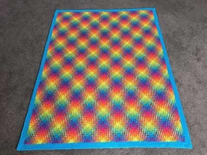 Lovely hand crochet blanket, woven geometric look - amazing rainbow colours!