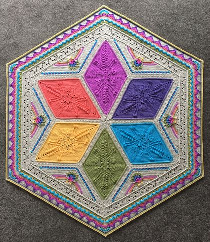 Fabulous handmade crochet blanket, amazing colours!  Modern, colourful hexagon design.