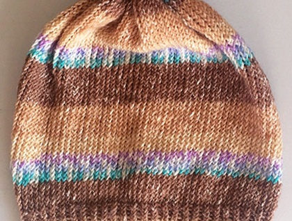 Brown Variegated Stripe Pompom Beanie