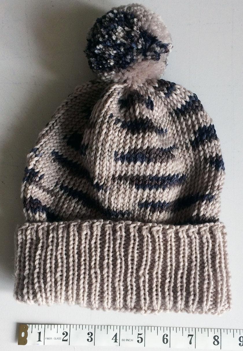 Beige Variegated Stripe Pompom Beanie